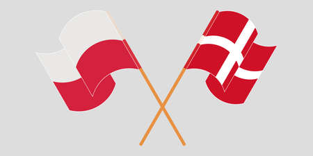 Crossed and waving flags of Poland and Denmark. Vector illustration