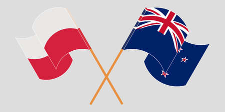 Crossed and waving flags of Poland and New Zealand. Vector illustration