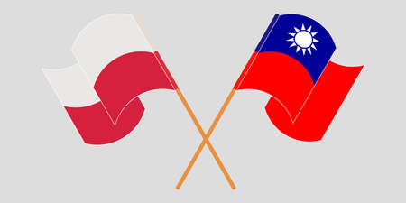 Crossed and waving flags of Poland and Taiwan. Vector illustration