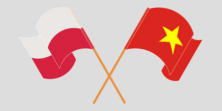Crossed and waving flags of Poland and Vietnam. Vector illustration  イラスト・ベクター素材