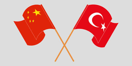 Crossed and waving flags of Turkey and China. Vector illustration