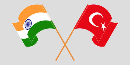 Crossed and waving flags of Turkey and India. Vector illustration