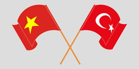 Crossed and waving flags of Turkey and Vietnam. Vector illustration