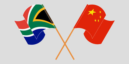 Crossed and waving flags of South Africa and China. Vector illustration