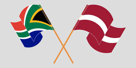 Crossed and waving flags of South Africa and Latvia. Vector illustration Vektoros illusztráció