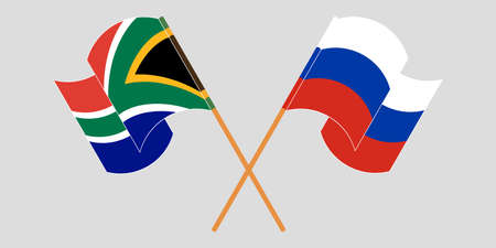 Crossed and waving flags of South Africa and Russia. Vector illustration Иллюстрация