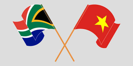 Crossed and waving flags of South Africa and Vietnam. Vector illustration