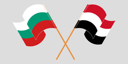 Crossed and waving flags of Bulgaria and Yemen. Vector illustration