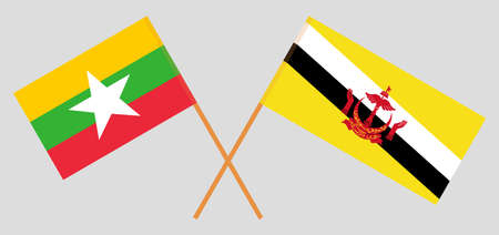 Crossed flags of Brunei and Myanmar. Official colors. Correct proportion. Vector illustration