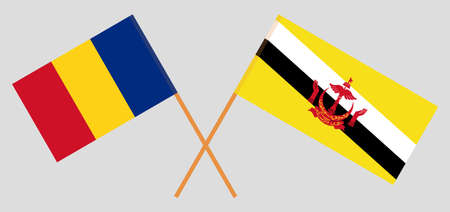 Crossed flags of Brunei and Romania. Official colors. Correct proportion. Vector illustration