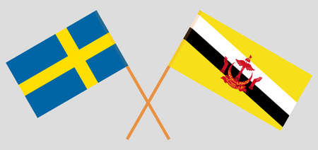 Crossed flags of Brunei and Sweden. Official colors. Correct proportion. Vector illustration