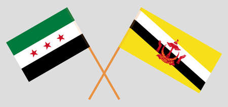 Crossed flags of Brunei and Interim Government of Syria. Official colors. Correct proportion. Vector illustration