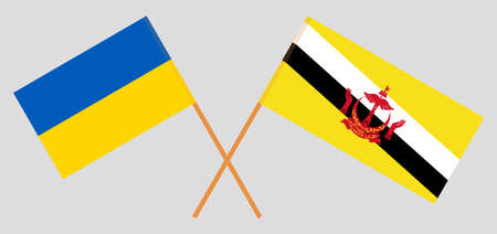 Crossed flags of Brunei and Ukraine. Official colors. Correct proportion. Vector illustration