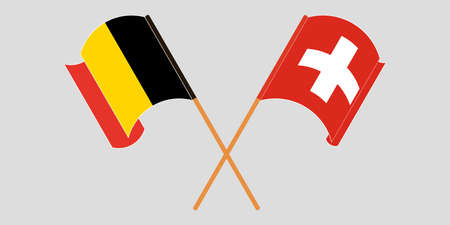 Crossed and waving flags of Switzerland and Belgium. Vector illustration