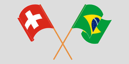 Crossed and waving flags of Switzerland and Brazil. Vector illustration