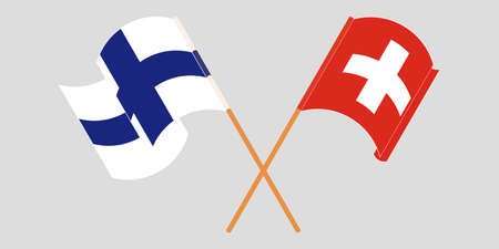 Crossed and waving flags of Switzerland and Finland. Vector illustration