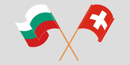Crossed and waving flags of Bulgaria and Switzerland. Vector illustration