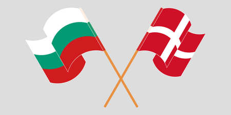 Crossed and waving flags of Bulgaria and Denmark. Vector illustration