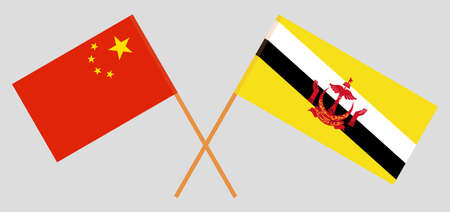 Crossed flags of Brunei and China. Official colors. Correct proportion. Vector illustration