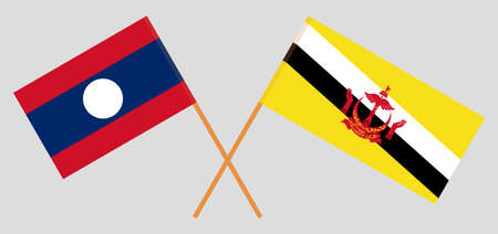 Crossed flags of Brunei and Laos. Official colors. Correct proportion. Vector illustration Ilustração