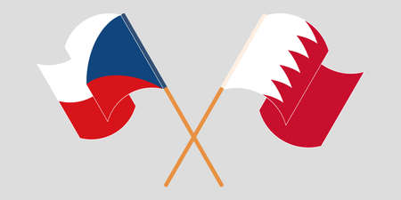 Crossed and waving flags of Czech Republic and Bahrain. Vector illustration