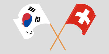 Crossed and waving flags of Switzerland and South Korea. Vector illustration Illustration