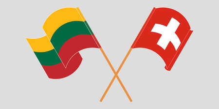 Crossed and waving flags of Switzerland and Lithuania. Vector illustration Illustration