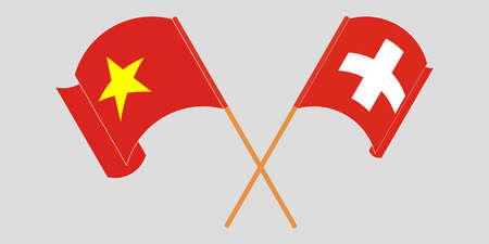 Crossed and waving flags of Switzerland and Vietnam. Vector illustration  イラスト・ベクター素材