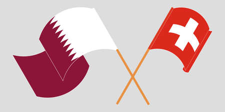 Crossed and waving flags of Switzerland and Qatar. Vector illustration