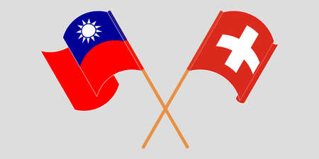 Crossed and waving flags of Switzerland and Taiwan. Vector illustration