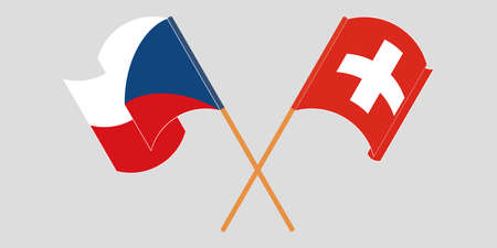 Crossed and waving flags of Czech Republic and Switzerland. Vector illustration Illustration