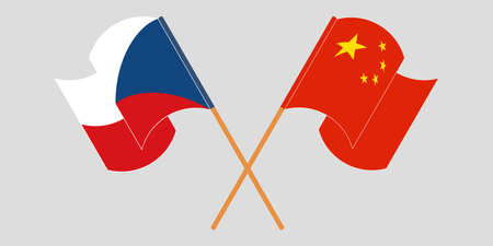 Crossed and waving flags of Czech Republic and China. Vector illustration