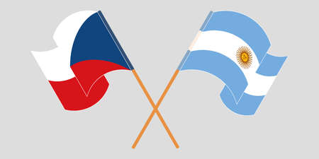 Crossed and waving flags of Czech Republic and Argentina. Vector illustration