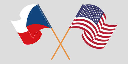 Crossed and waving flags of Czech Republic and the USA. Vector illustration