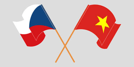 Crossed and waving flags of Czech Republic and Vietnam. Vector illustration  イラスト・ベクター素材