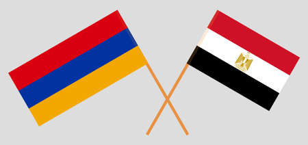 Crossed flags of Egypt and Armenia. Official colors. Correct proportion. Vector illustration