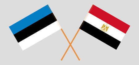 Crossed flags of Egypt and Estonia. Official colors. Correct proportion. Vector illustration