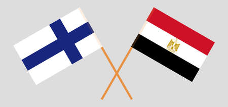 Crossed flags of Egypt and Finland. Official colors. Correct proportion. Vector illustration