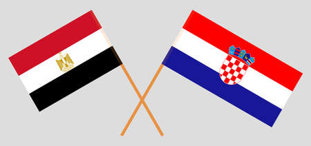 Crossed flags of Egypt and Croatia. Official colors. Correct proportion. Vector illustration