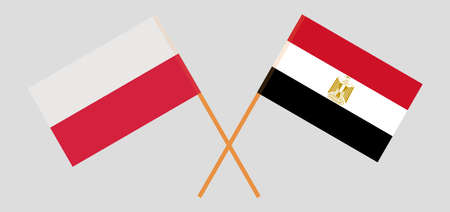Crossed flags of Egypt and Poland. Official colors. Correct proportion. Vector illustration