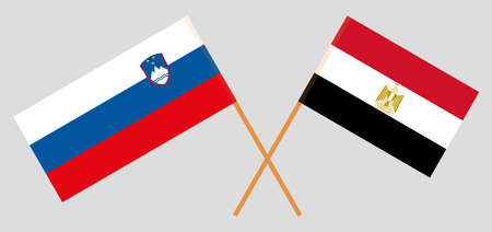 Crossed flags of Egypt and Slovenia. Official colors. Correct proportion. Vector illustration Illustration
