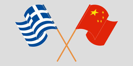 Crossed and waving flags of Greece and China. Vector illustration 向量圖像