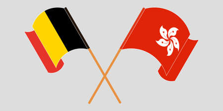 Crossed and waving flags of Hong Kong and Belgium. Vector illustration