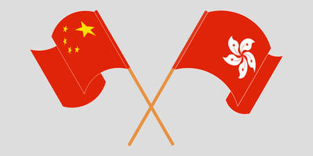 Crossed and waving flags of Hong Kong and China. Vector illustration