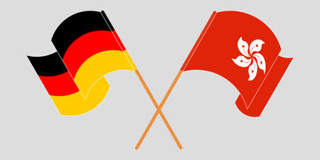 Crossed and waving flags of Hong Kong and Germany. Vector illustration