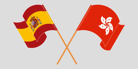 Crossed and waving flags of Hong Kong and Spain. Vector illustration 矢量图像