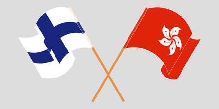 Crossed and waving flags of Hong Kong and Finland. Vector illustration