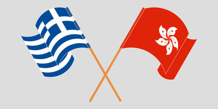 Crossed and waving flags of Hong Kong and Greece. Vector illustration