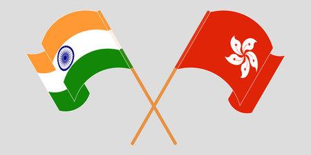 Crossed and waving flags of Hong Kong and India. Vector illustration 矢量图像