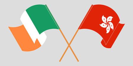 Crossed and waving flags of Hong Kong and Ireland. Vector illustration 矢量图像